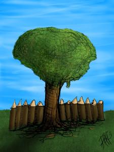 Der Baum am Zaun